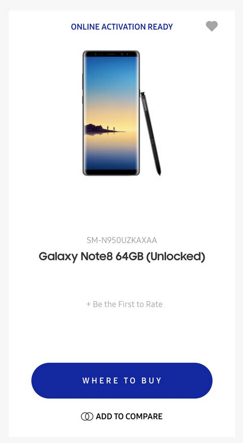 Samsung Galaxy Note 8 appears briefly on Sammy's U.S. website - Samsung Galaxy Note 8 makes a quick appearance on Samsung's U.S. website