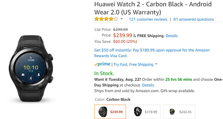 Deal: Huawei Watch 2 (Carbon Black) is 20% off on Amazon