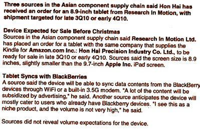 Research firm's analysis - Is RIM planning a tablet with an 8.9 inch screen?