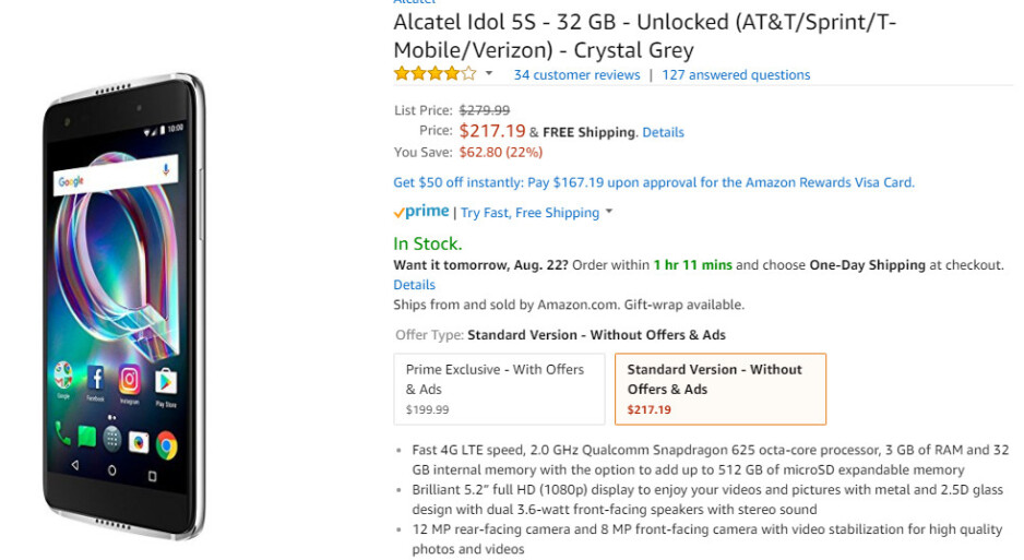 Deal: The unlocked Alcatel Idol 5S with Android 7.1 Nougat is on sale for 22% off