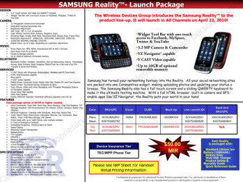 Samsung Reality SCH-U820 expected to become a reality on April 22