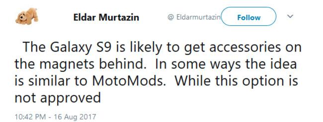 Google Translate version of Eldar Murtazin's tweet - Samsung Galaxy S9 might feature modular capabilities