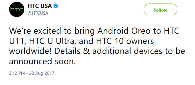 Android 8.0 is coming to the HTC U11, HTC U Ultra and HTC 10 - Android Oreo is coming to HTC U11, HTC U Ultra and HTC 10