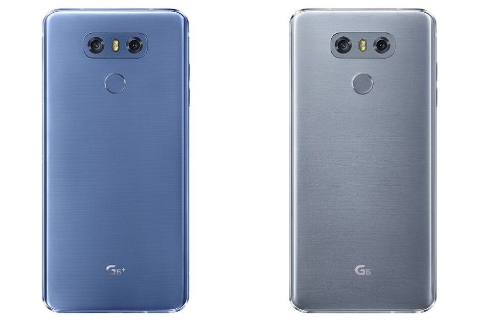 LG G6+ in Marine Blue (left) and LG G6 in Ice Platinum (right) - LG V30 back cover poses for the camera on Note 8 announcement day