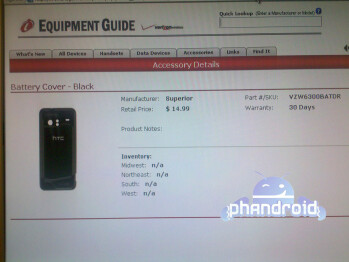 HTC Incredible outfitted with accessories seen on Verizon's Equipment Guide system