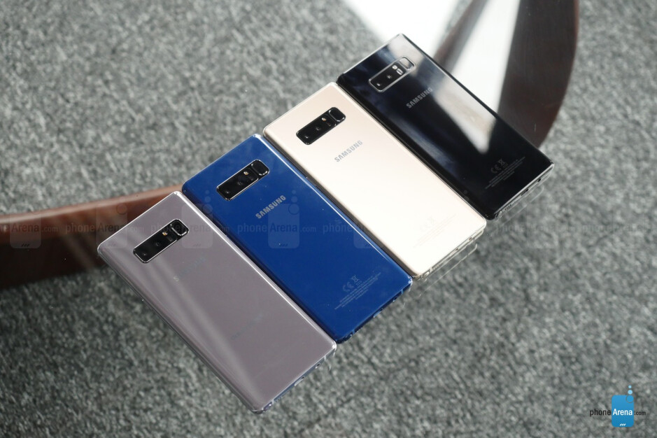 The Note 8 in Orchid Gray, Deep Sea Blue, Gold, and Midnight Black - Samsung Galaxy Note 8 hands-on: The Cautionary Follow-up