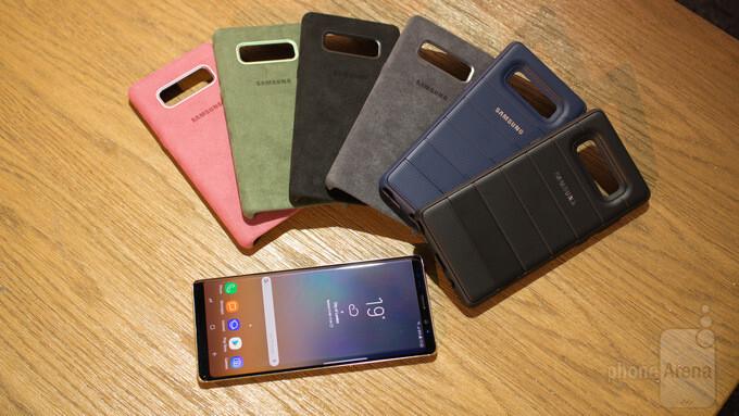 Some of the official Samsung Galaxy Note 8 cases, including four Alcantara cases - This is the official Galaxy Note 8 Alcantara case and it's... different
