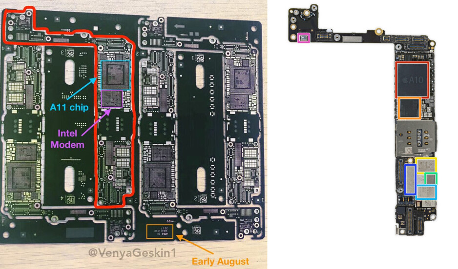 iPhone 7s Plus bare logic board (left; credit @VenyaGeskin1) vs iPhone 7 Plus logic board (right; credit iFixit.com) - iPhone 7s Plus bare logic board poses for the camera, A11 chip and Intel modem markings observed