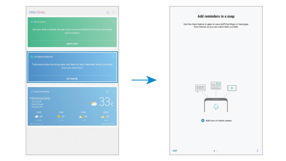 A graphic from the manual describing how to access Bixby reminders - Bixby to make its tablet debut on the entry-level Galaxy Tab A (2017)