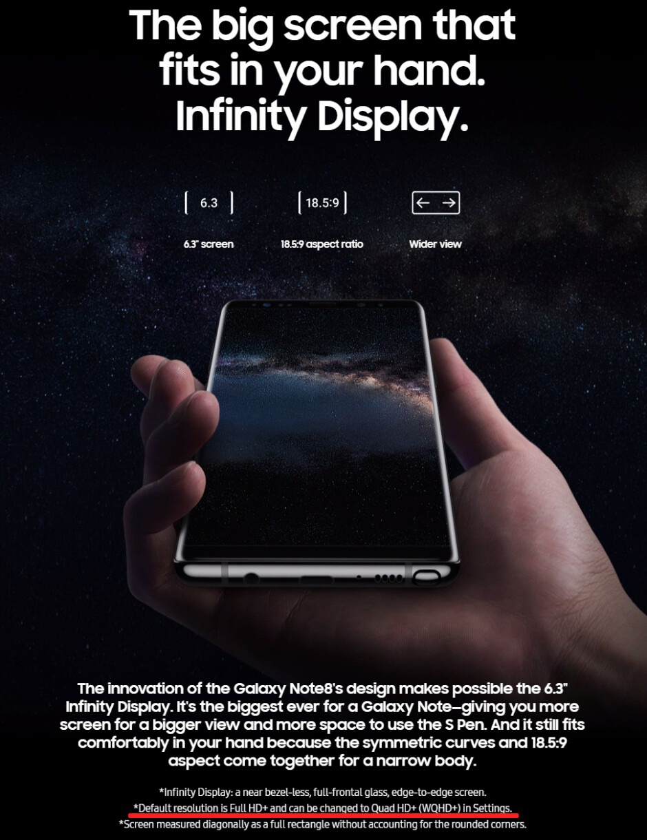 FYI: The screen of Samsung's Galaxy Note 8 has a default resolution of 1080 x 2220 pixels