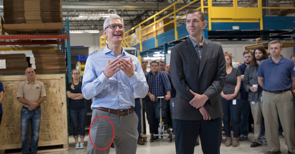 Is that an Apple iPhone 8 in Tim Cook's right pants pocket? - Tim Cook photographed with the Apple iPhone 8 in his pocket?; iPhone 8, iPhone 7s components leak