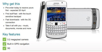 Vodafone customers can now pre-order the BlackBerry Bold 9700 in white