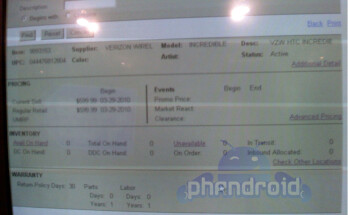 BestBuy inventory screenshots revealing April 25 in-stock date for the HTC Droid Incredible