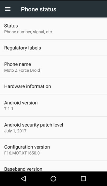 The Moto Z Force Droid and Moto Z Droid are updated to Android 7.1.1