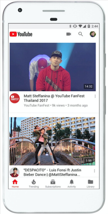 The new look of YouTube