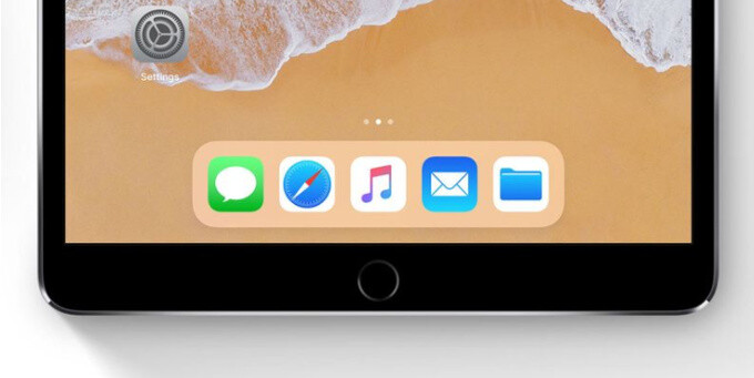 """The Apple iPhone 8 is expected to have a dock in place of the home button (an iPad with iOS 11 pictured for illustration) - Apple iPhone 8 to feature a software """"dock"""" in place of home button"""