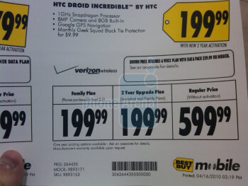 New & upgrade customers can fetch the HTC Droid Incredible for $199.99 at Best Buy