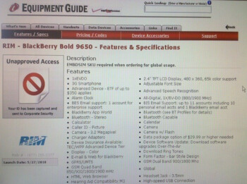 BlackBerry Bold 9650 gets spotted on Verizon's Equipment Guide