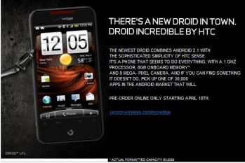 Verizon will also take pre-orders for the Droid Incredible on Sunday