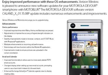 Minor upgrade in store for Motorola DEVOUR next week