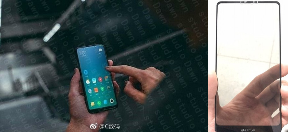 Xiaomi Mi MIX 2 alleged live pic (left), Xiaomi Mi MIX 2 front panel (right) - Xiaomi CEO shows off Mi MIX 2 retail box, various other teaser images
