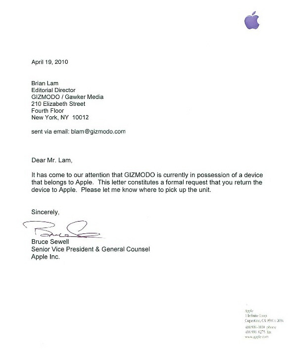 A letter sent to Gizmodo, requesting that they return the lost iPhone - Apple wants to get its adventurous iPhone back