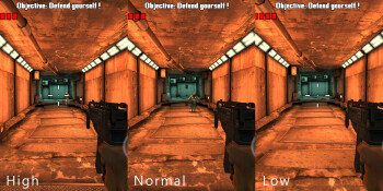 High, Normal and Low resolution settings in Dead Trigger