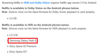 Netflix supports HDR streaming for the Galaxy Note 8