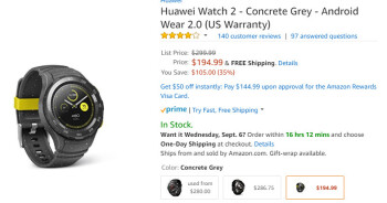 Deal: Huawei Watch 2 Sport costs less than $200 (35  off) on Amazon