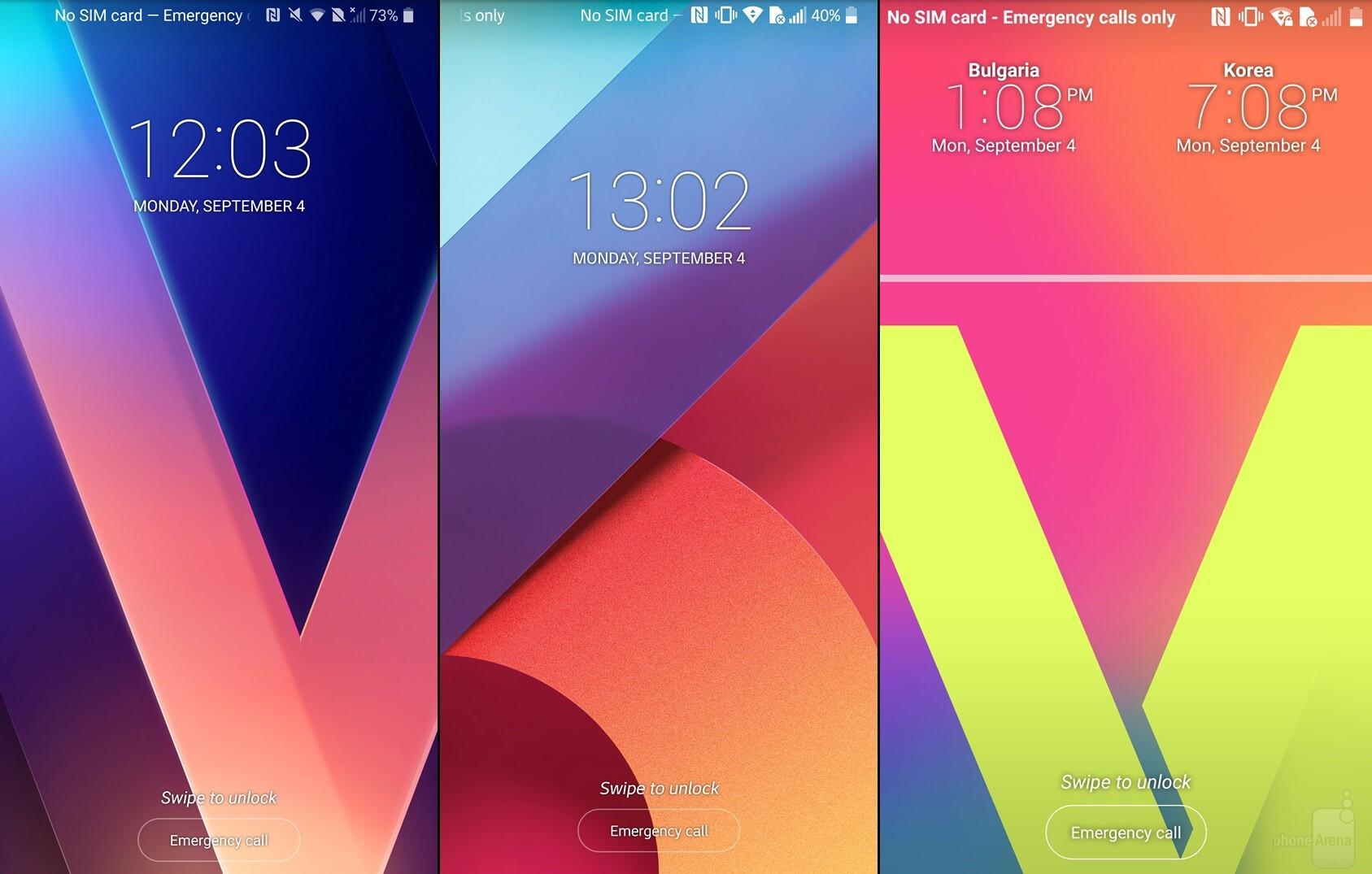 V30 (left), G6 (middle), V20 (right)