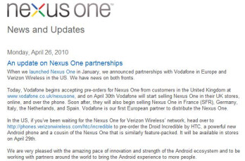 Google won't sell Nexus One to Verizon customers; suggests buying Droid Incredible instead
