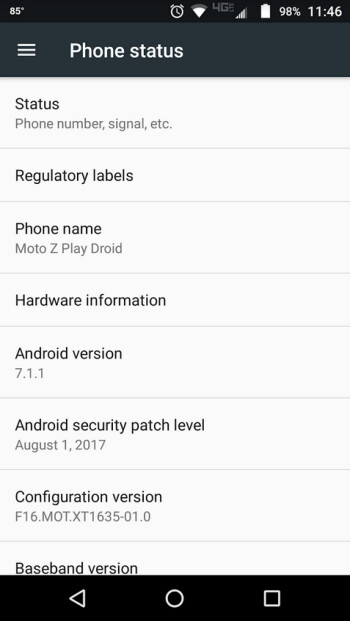 The Moto Z Play Droid has just received an update containing the August Android security patch