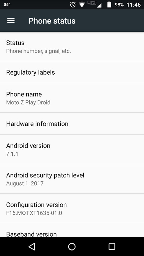 The Moto Z Play Droid has just received an update containing the August Android security patch - Moto Z Play Droid receives security update