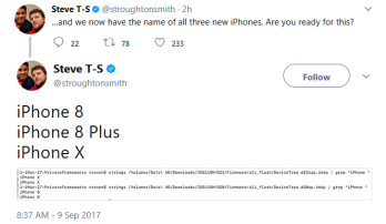 Firmware leak from iOS 11 GM indicates the names of the three new 2017 iPhone models
