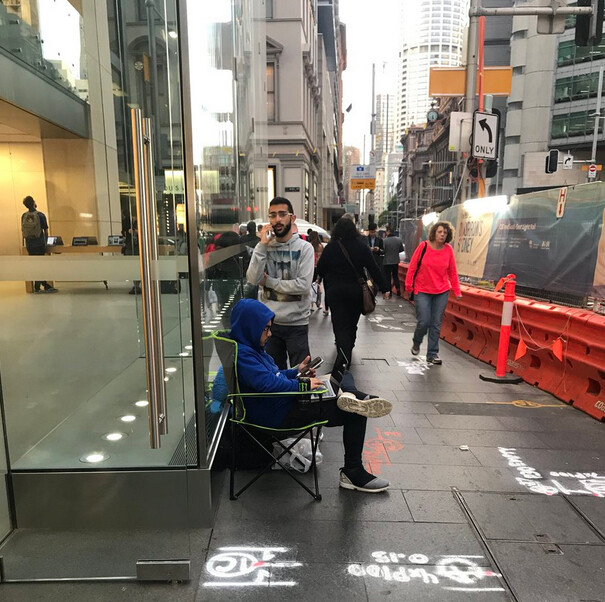 Line starts forming in front of the Sydney Apple Store - Line already forms in front of the Sydney Apple Store for the new iPhone models