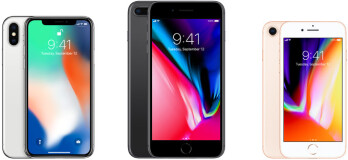 Left to right - iPhone X, 8 Plus and iPhone 8