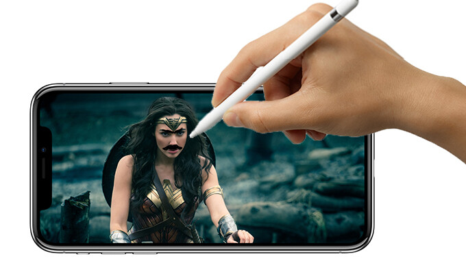 An artist's interpretation of the Apple Pencil being used on the iPhone X - Apple iPhone X: all the rumors that didn't come true