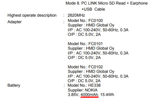 Nokia 2, as revealed by the FCC