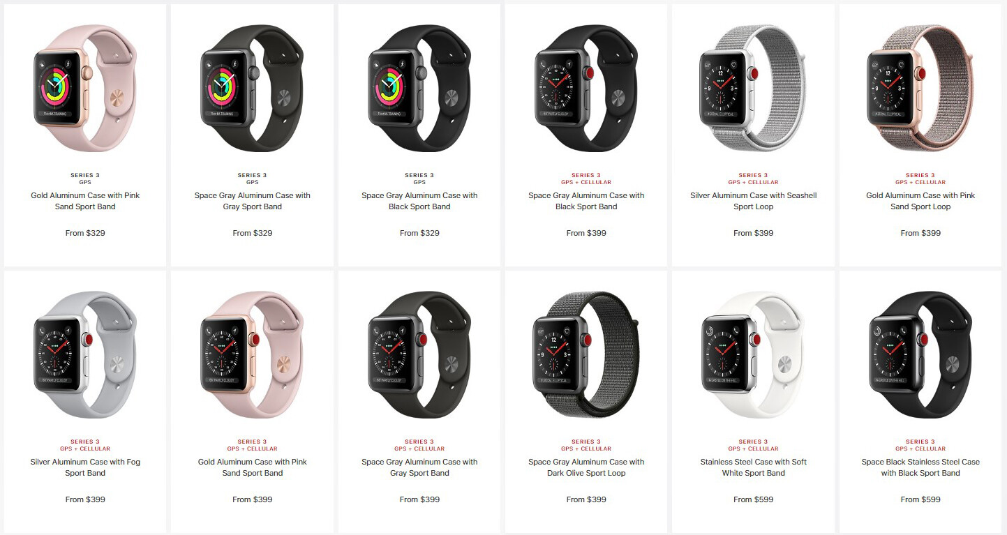 A sampling of all the different Series 3 SKUs available on Apple's website right now