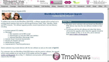 T-Mobile's BlackBerry Bold 9700 getting a software update soon