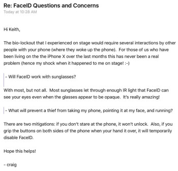 Federighi on Face ID, sunglasses and theft: Shades are not a problem, but getting your iPhone X stolen is