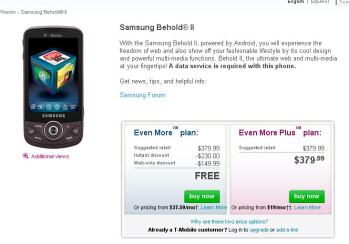 UPDATE: T-Mobile is now selling the Samsung Behold II for free