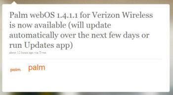 Right on cue, webOS 1.4.1.1 is now available for Verizon