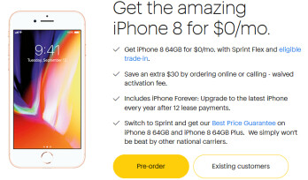 iPhone 8 is available for $0 per month at Sprint, but only with eligible trade in