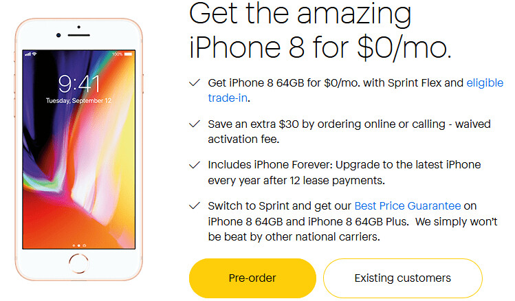 iPhone 8 is available for $0 per month at Sprint, but only