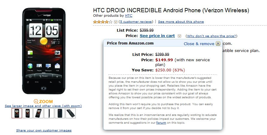 Amazon trumps Verizon by selling the HTC Droid Incredible for $149.99
