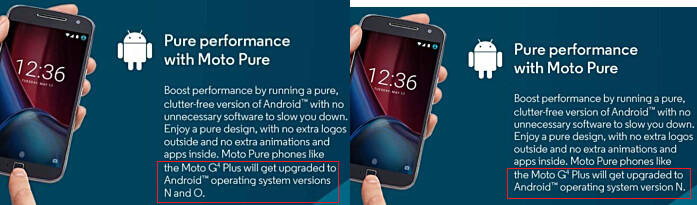 At left, promotional material for the Moto G4 Plus mentions an update to Android O, a comment recently erased by Motorola - Motorola reversal: Moto G4 Plus to get updated to Android 8.0