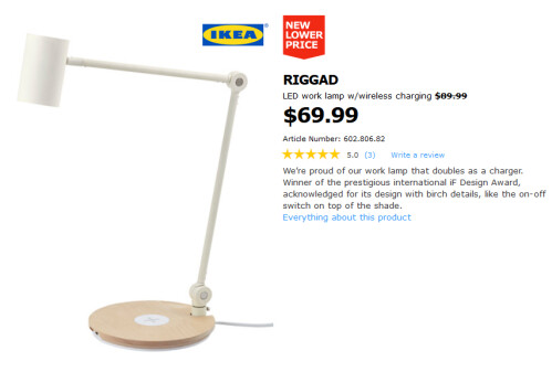 Ikea focuses its advertisements for wireless charging lamps directly to Apple fans