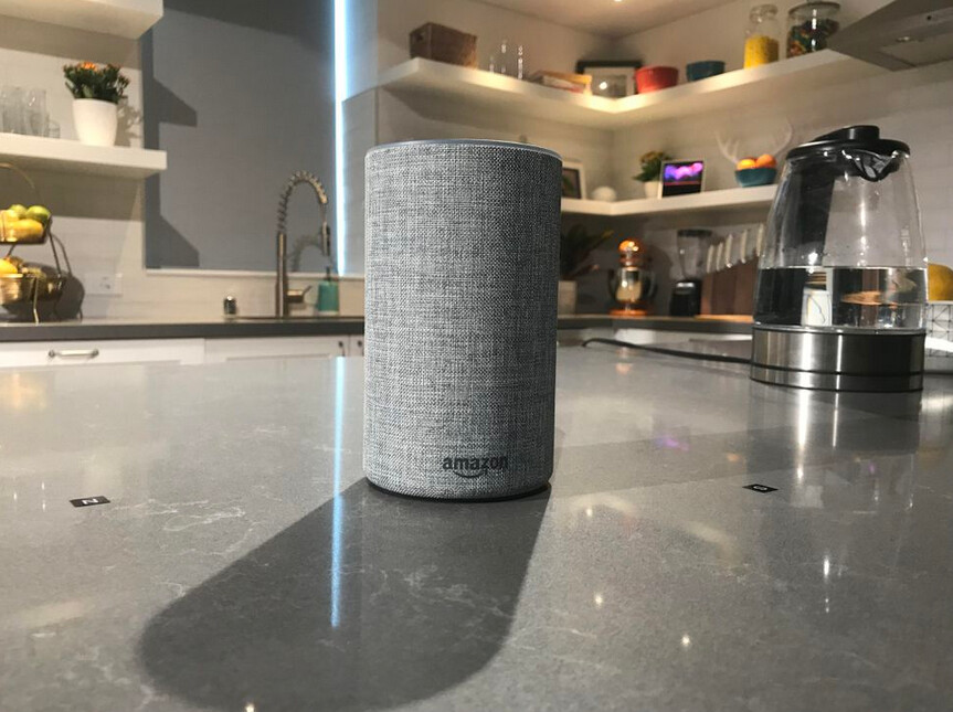 The new Amazon Echo features a cloth cover to blend in with the room where it will be used