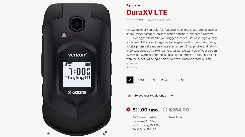 Verizon Launches The Sturdy Overpriced Kyocera Duraxv Lte Flip Phone Phonearena